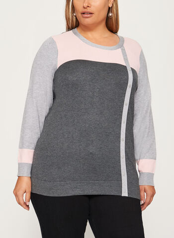 Pointelle Detail Button Trim Sweater, , hi-res