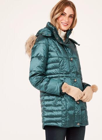 Hooded Faux Fur Down Coat , , hi-res
