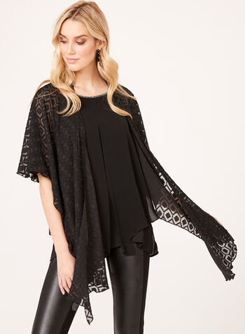 Embroidered Chiffon Wrap , , hi-res