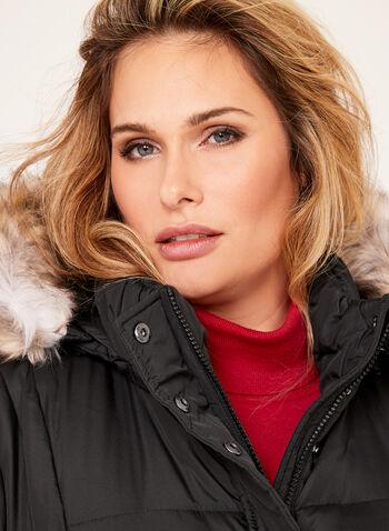 Novelti - Removable Faux Fur Quilted Coat, , hi-res