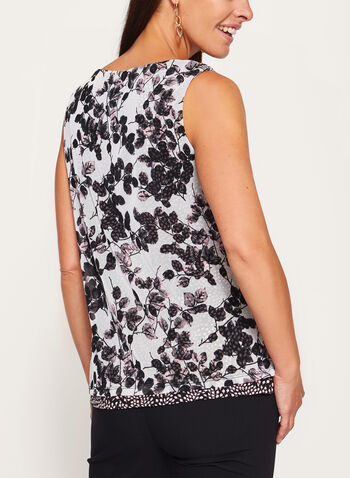 Sleeveless Floral Print Double Layer Blouse  , , hi-res