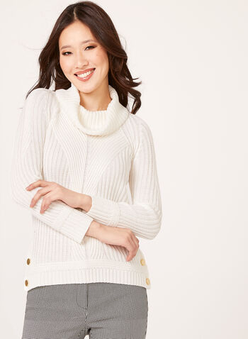 Cowl Neck Ribbed Sweater, , hi-res