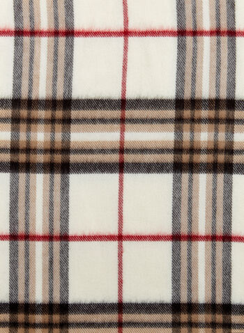 Plaid Fringe Scarf, , hi-res