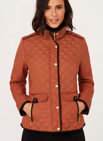 Weatherproof - Diamond Quilted Stand Collar Coat, , hi-res