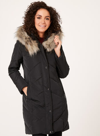 Quilted Faux Down Coat , , hi-res