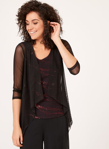 Glitter Top with Built-in Mesh Cardigan, , hi-res