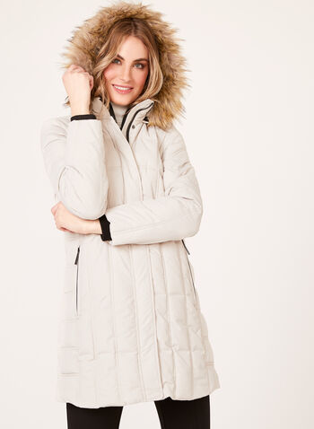 Hooded Quilted Polyfill Coat, , hi-res