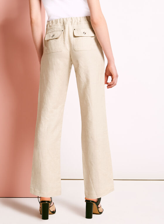 Modern Fit Straight Leg Linen Pants, Grey, hi-res