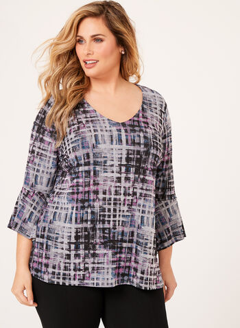 Abstract Print Bell Sleeve Top , , hi-res