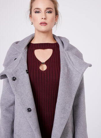 Novelti - Hooded Wool Blend Coat , , hi-res