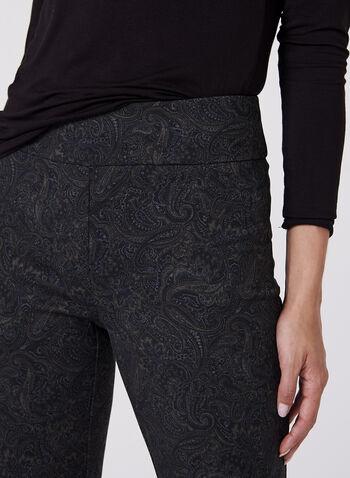 Pantalon pull-on à jambe droite et motif tapisserie, , hi-res