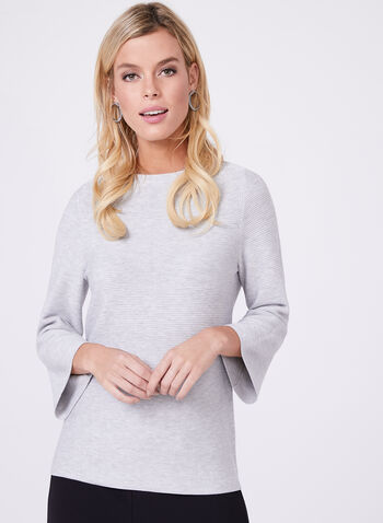 Bell Sleeve Ribbed Ottoman Knit Sweater, , hi-res