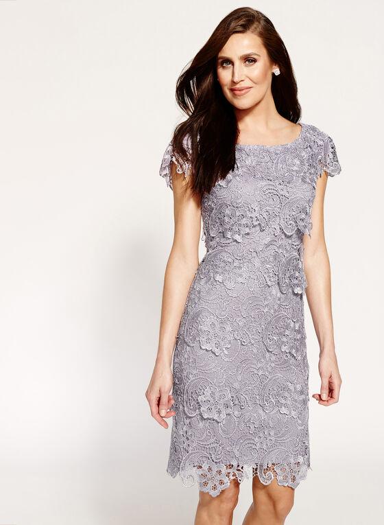 Tiered Floral Lace Dress, Purple, hi-res