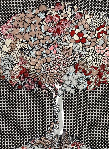 Tree Print Silk Necktie, , hi-res