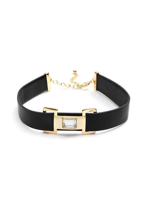 Stone Faceted Leather Choker , Black, hi-res