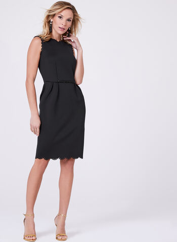 Frank Lyman - Scalloped Trim Scuba Dress, , hi-res