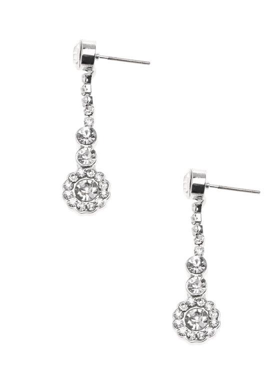 Crystal Dangle Earrings, Silver, hi-res