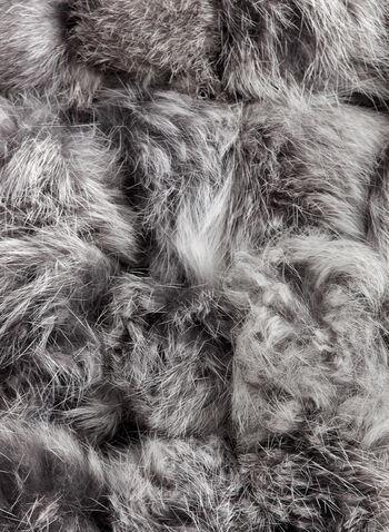 Rabbit Fur Pom Pom Scarf, Grey, hi-res