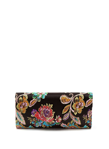 Floral Embroidered Clutch, , hi-res