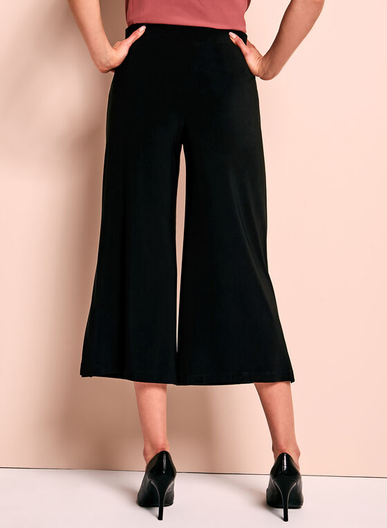 Slit Detail Culotte Pants, Black, hi-res