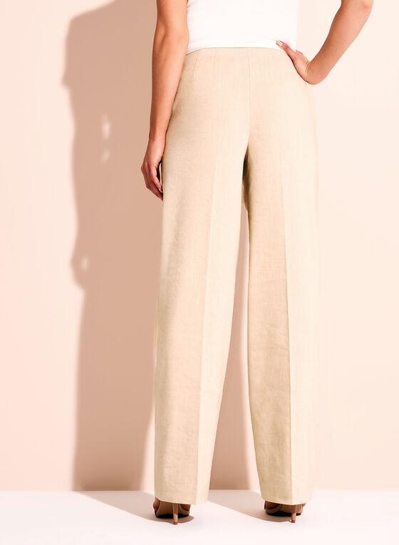 Wide Leg Stretch Linen Pants, Grey, hi-res