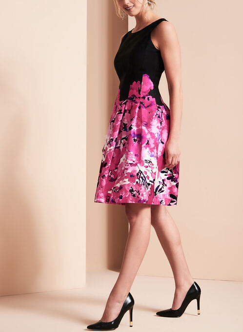 Floral Print Fit & Flare Dress, Red, hi-res