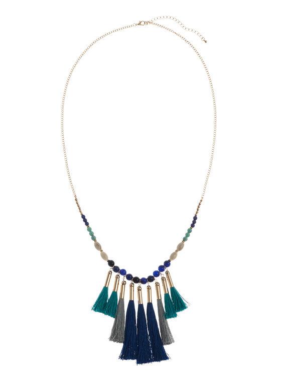 Beaded Multi Tassel Necklace, Blue, hi-res