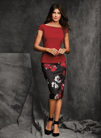 Floral Zipper Trim Pencil Skirt, , hi-res