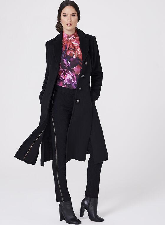 Novelti - Notch Collar Wool Blend Coat, Black, hi-res
