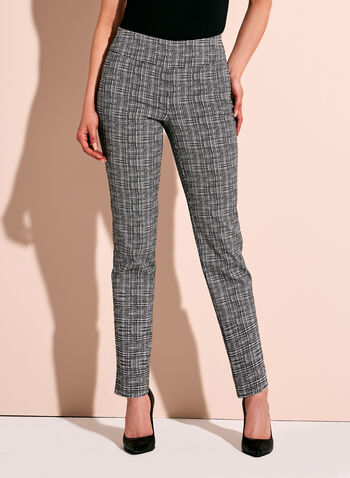 Square Print Slim Leg Ankle Pants, , hi-res