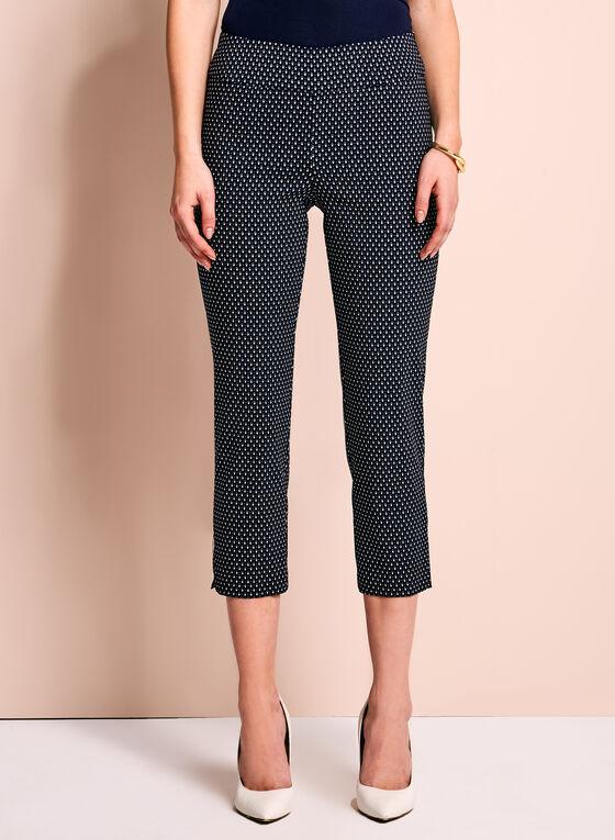 Diamond Print Capri Pants, Blue, hi-res