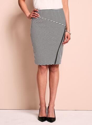 Zipper Trim Pointelle Stripe Skirt, , hi-res