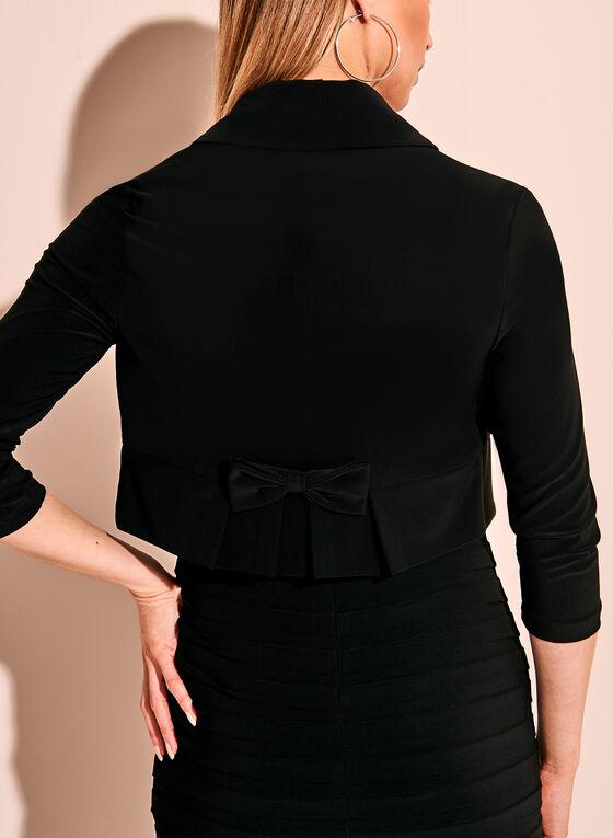 Frank Lyman 3/4 Sleeve Bow Trim Bolero, Black, hi-res