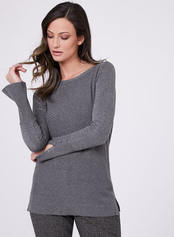 Boat Neck Chevron Knit Sweater, Grey, hi-res