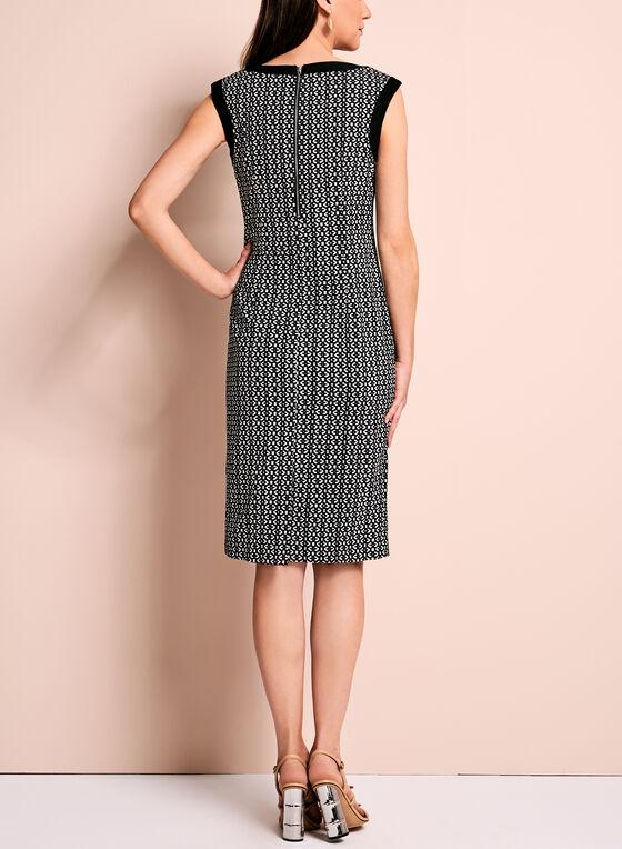 Graphic Print Sleeveless Sheath Dress, Black, hi-res
