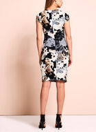 Floral Print Faux-Wrap Dress, White, hi-res