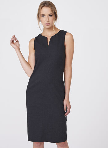 Louben - Split Neck Structured Dress, , hi-res
