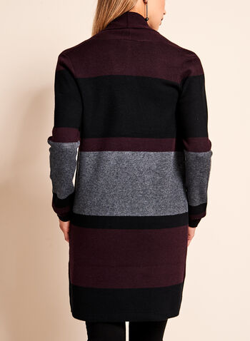 Colour Block Stripe Long Cardigan, , hi-res