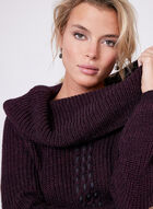 Off The Shoulder Cowl Neck Sweater, Purple, hi-res