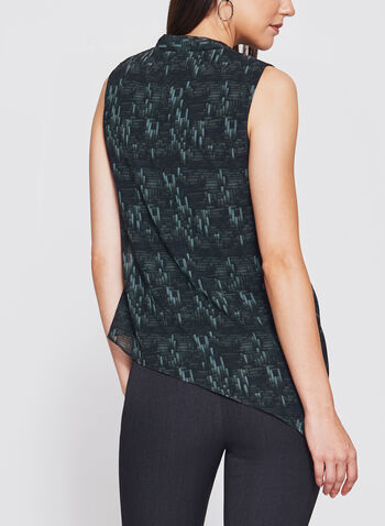 Geometric Print Asymmetric Wrap Top, , hi-res