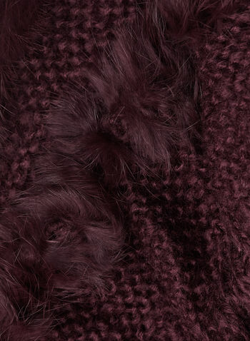 Fur Trim Knit Tube Scarf, Red, hi-res