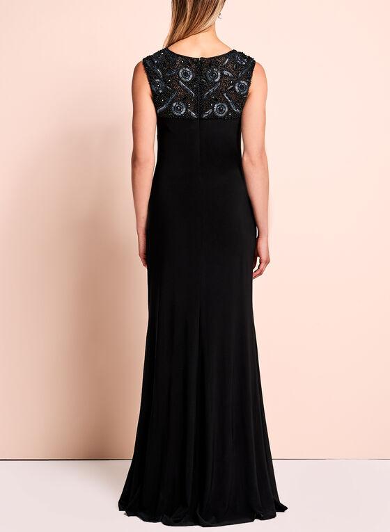 Sequin Jersey Evening Gown , Black, hi-res