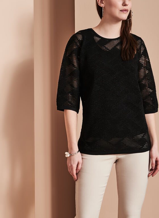 3/4 Sleeve Textured Tunic Sweater, Black, hi-res