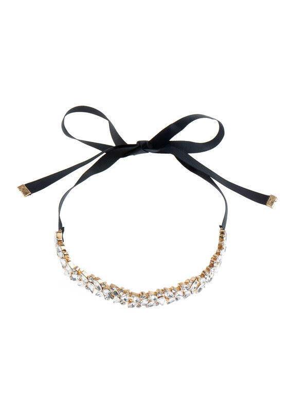 Ribbon Tie Choker Necklace, Gold, hi-res
