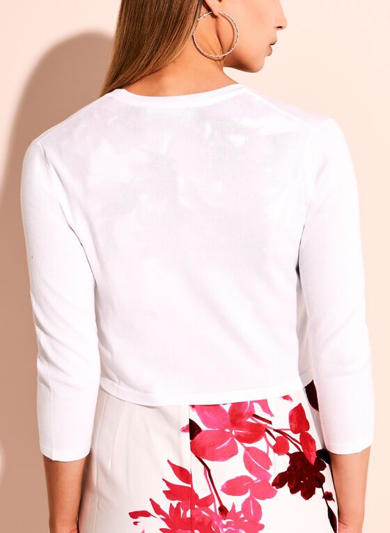 3/4 Sleeve Knit Bolero, White, hi-res