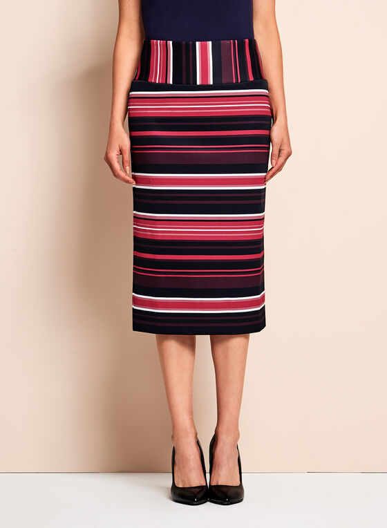 Stripe Print Scuba Pencil Skirt, Black, hi-res