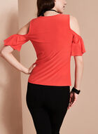 Cold Shoulder Flutter Sleeve Top, Red, hi-res