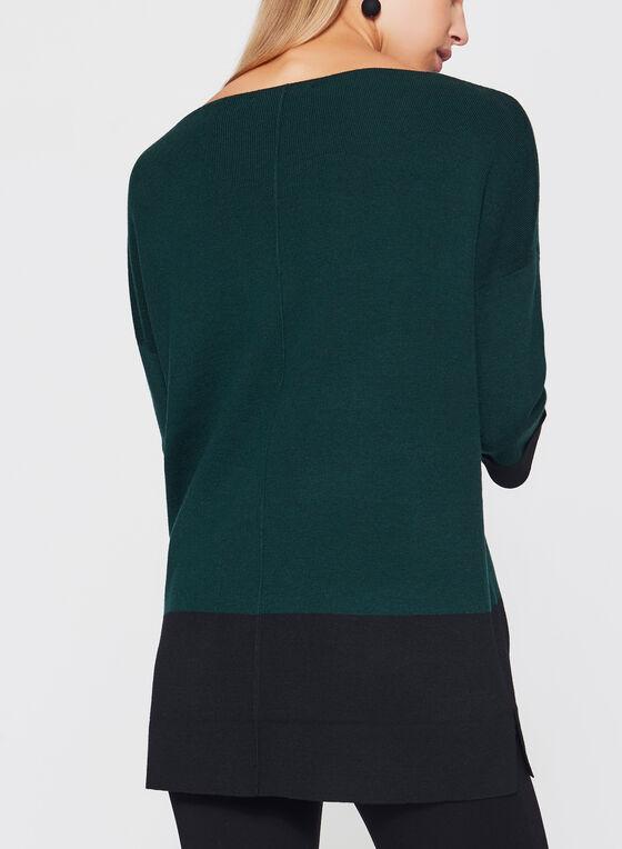 Colour Block Tunic Sweater, Green, hi-res