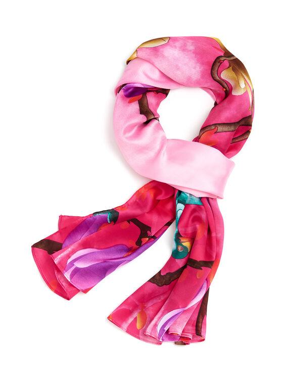 Oblong Nature Print Scarf , Pink, hi-res