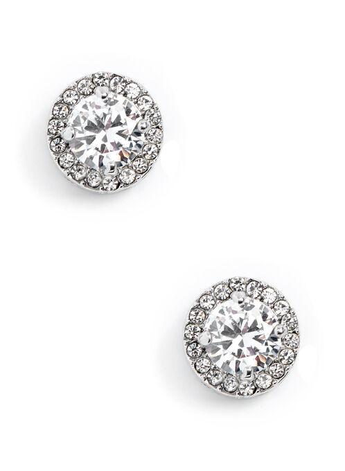 Crystal Stud Earrings, Silver, hi-res